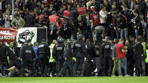 Fans injured as barrier collapses during French football match
