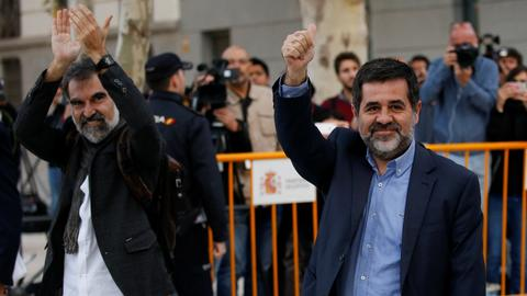 Spain jails two Catalan separatist leaders pending investigation