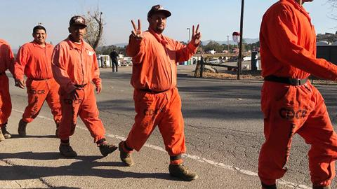 California inmates fight wildfires for a buck an hour
