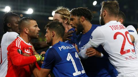 Police probe Europa League brawl at Goodison Park