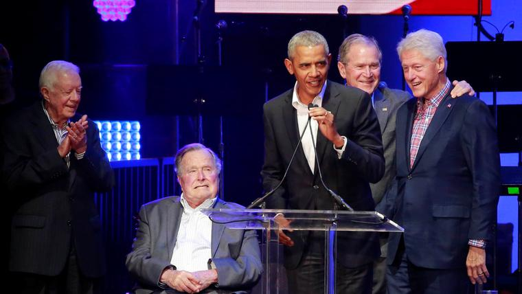 Former US presidents speak at concert benefiting hurricane relief efforts