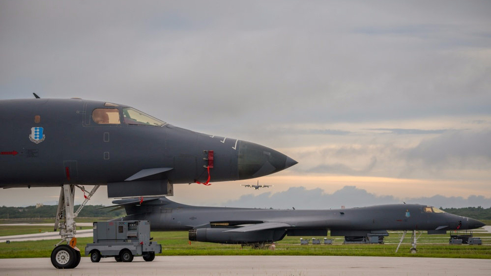 US Air Force B-1B Lancers prepare for take-off to fly a bilateral mission with Japanese and South Korea Air Force jets in the vicinity of the Sea of Japan from Anderson AFB in Guam on Tuesday. October 10, 2017.