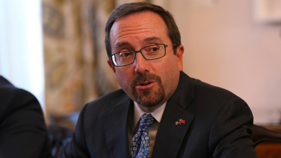 US Ambassador John Bass attends a news conference in Ankara Turkey
