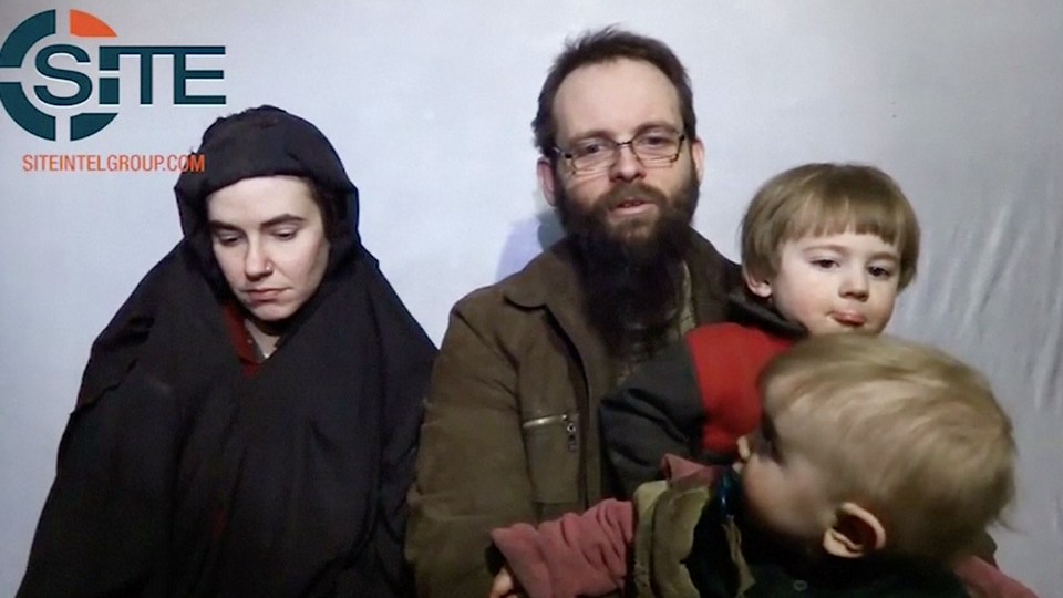 File video shows US citizen Caitlan Coleman and Canadian citizen Joshua Boyle while in captivity along with their two toddlers and speaking to the camera to implore for their release. (Reuters screengrab)