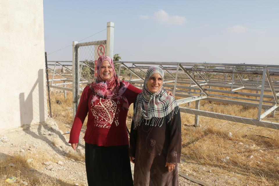 I'tidal al Wahsh (L), one of the women association's leaders, grew up in Jubbet adh Dhib and says she saw transmission towers being erected in the Israeli settlement of Sde Bar, barely 500 metres away before it received official status in 2005.