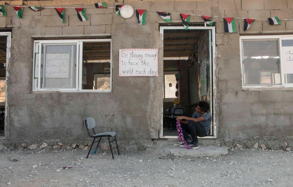 The school is one of very few amenities for the roughly 160-strong population of Jubbet adh Dhib. Others include a grocery store, a sewing shop and a mosque. A mobile clinic visits the village near Bethlehem once a week. August 2017.
