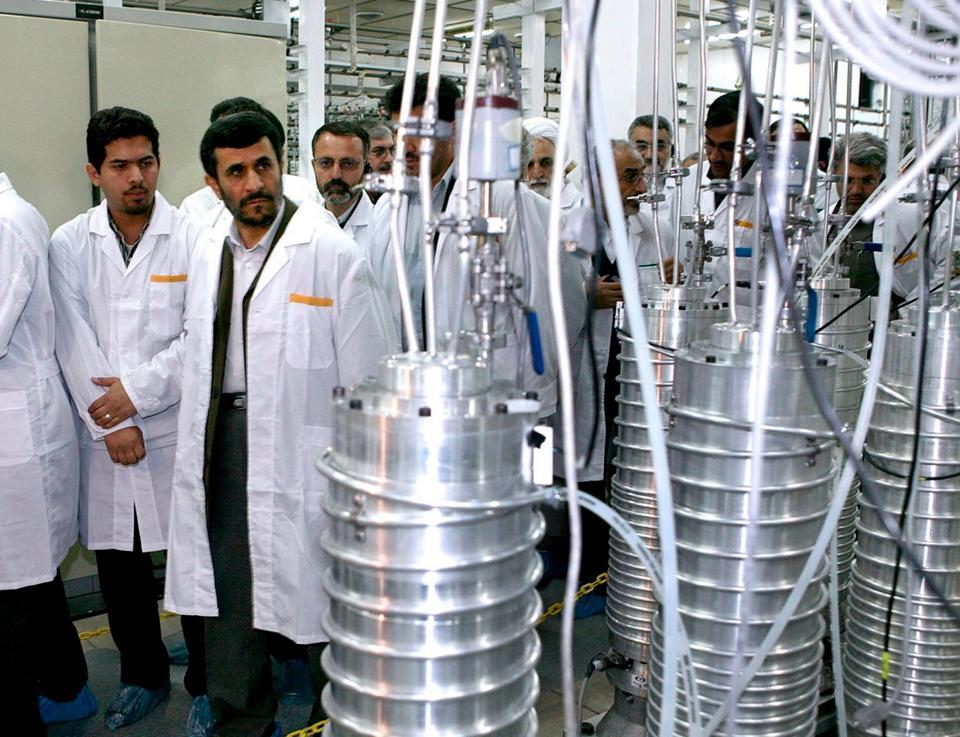 Iranian President Mahmoud Ahmadinejad visits the Natanz nuclear enrichment facility, 350 km (217 miles) south of Tehran on April 8, 2008.