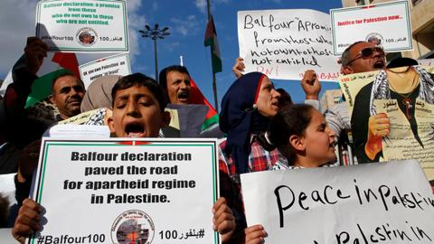 Palestinians protest Balfour Declaration on 100th anniversary