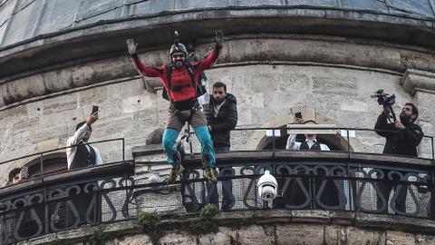 Cengiz Kocak successfully leaps from Istanbul's iconic Galata Tower