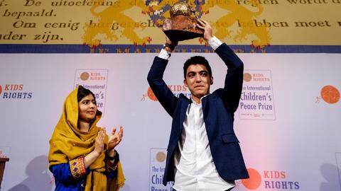 Syrian boy awarded Children's Peace Prize for building school in Lebanon