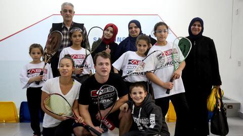 Syrian refugee girls in Jordan receive squash training