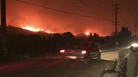California wildfire rages toward Santa Barbara