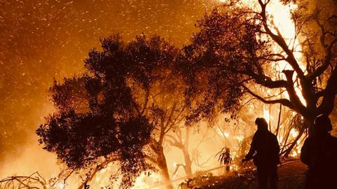 California wildfire rages toward Santa Barbara
