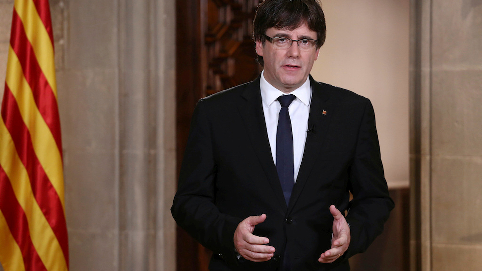 Catalan President Carles Puigdemont speaks during a statement at the Palau Generalitat in Barcelona, Spain, on Wednesday, October 4, 2017.