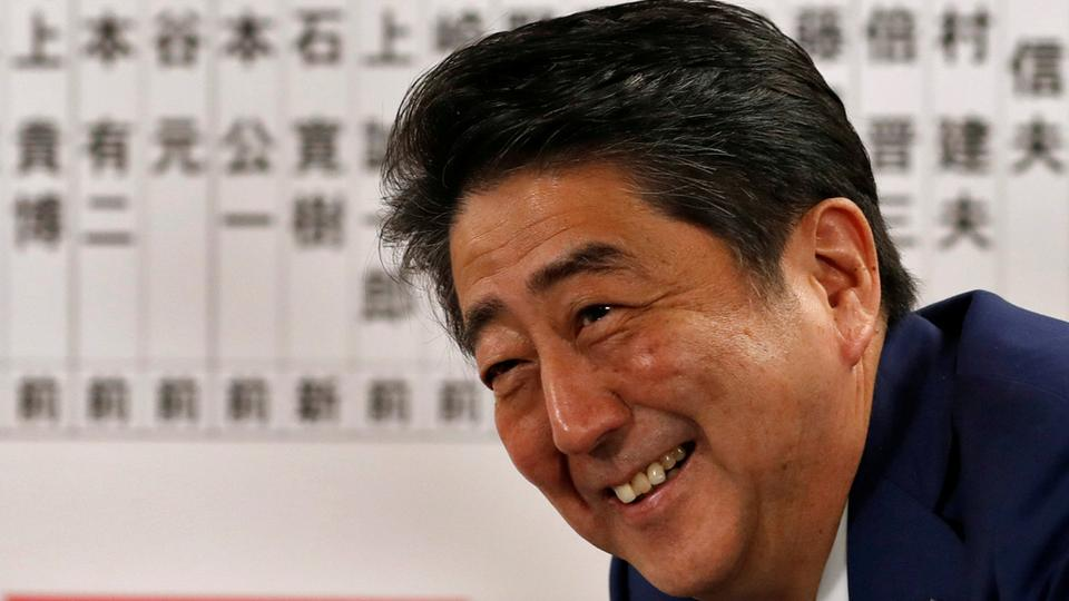 Japan's Prime Minister Shinzo Abe, leader of the Liberal Democratic Party (LDP), smiles during a news conference after Japan's lower house election, at the LDP headquarters in Tokyo, Japan October 22, 2017. (Reuters)