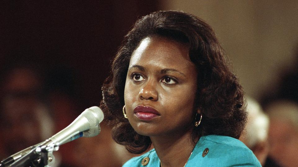 Head and shoulder shots of Anita Hill, University of Oklahoma Law Professor, who testified, that she was sexually harassed by Clarence Thomas. 1991 photo.
