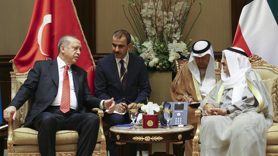President of Turkey Recep Tayyip Erdogan meets Kuwaiti Emir Sabah al Ahmad al Jaber al Sabah at Bayan Palace in Hawally, Kuwait on November 14, 2017.