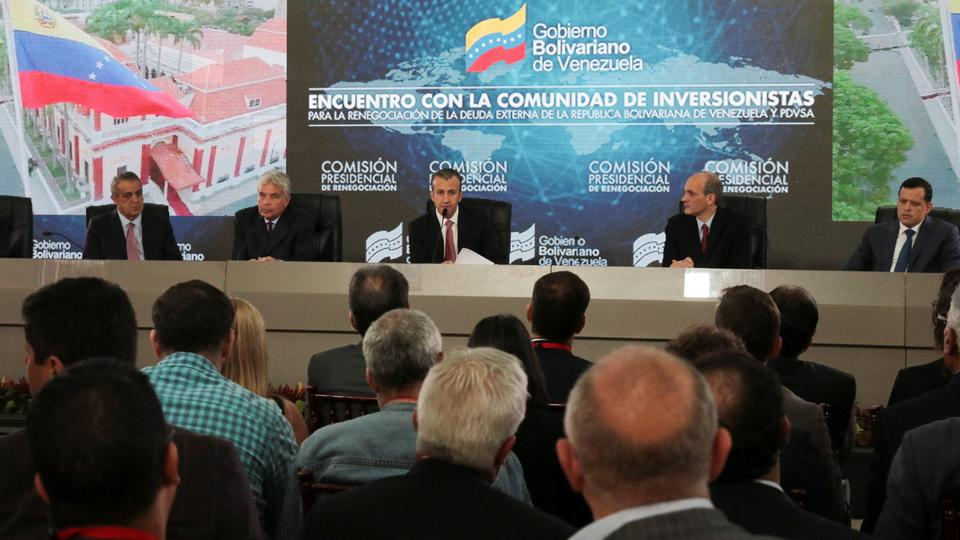 Venezuela's Vice President Tareck El Aissami speaks during a meeting with bondholders and their representatives in Caracas Venezuela