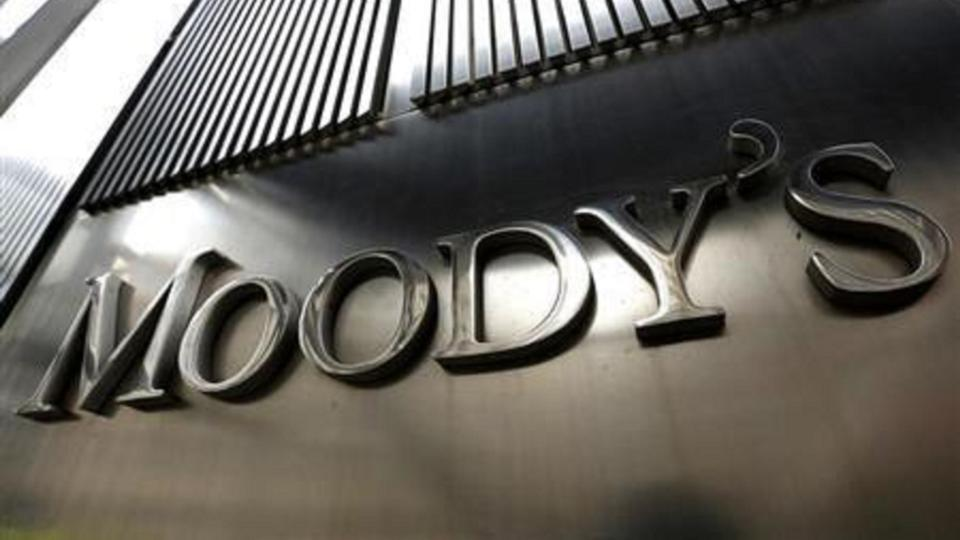A Moody's sign is displayed on 7 World Trade Center the company's corporate headquarters in New York