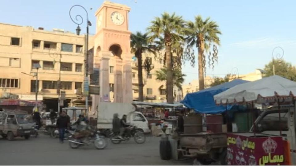 The city centre in Idlib becomes a hub of activity at sundown with people from all walks of life converging around the clock tower for shopping and socialising.