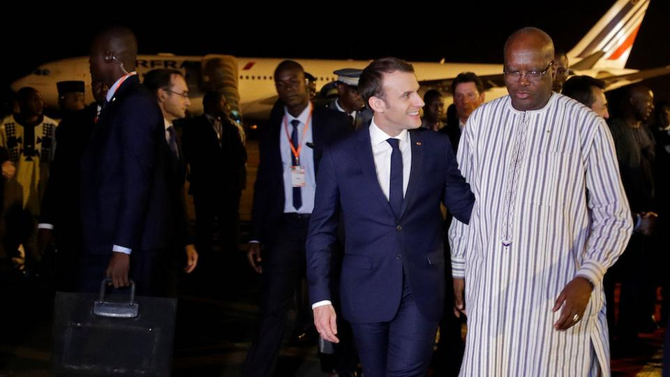 Emmanuel Macron meets with Burkina Faso leader Roch Marc Christian Kabore