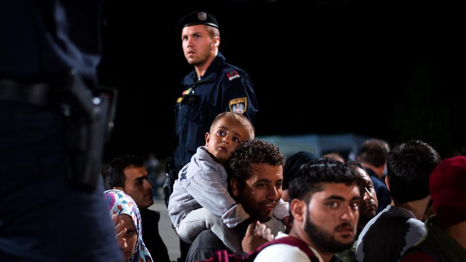 Refugees on the Austria Hungary border.