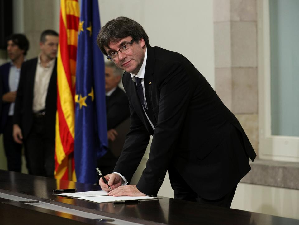 Catalan leader Carles Puigdemont told the assembly earlier that the effects of the declaration would be suspended to allow time for talks to reach a negotiated solution to the standoff over the northeastern region.