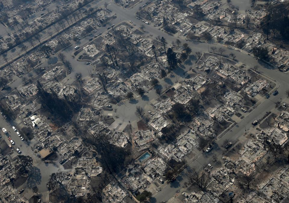 Dozens of homes burned out in the Coffey Park area, Santa Rosa, California, US, October 11, 2017. (Photo AP)