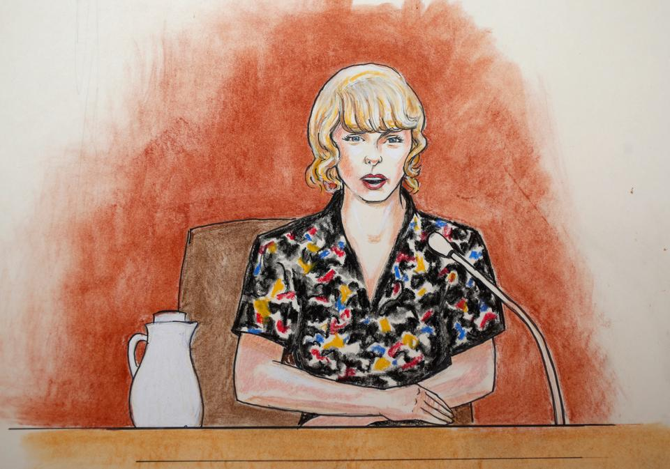 A courtroom sketch showing pop singer Taylor Swift in the witness stand in Denver in August. Swift testified that David Mueller, a former radio DJ, reached under her skirt and intentionally grabbed her backside during a meet-and-greet photo session before a 2013 concert.