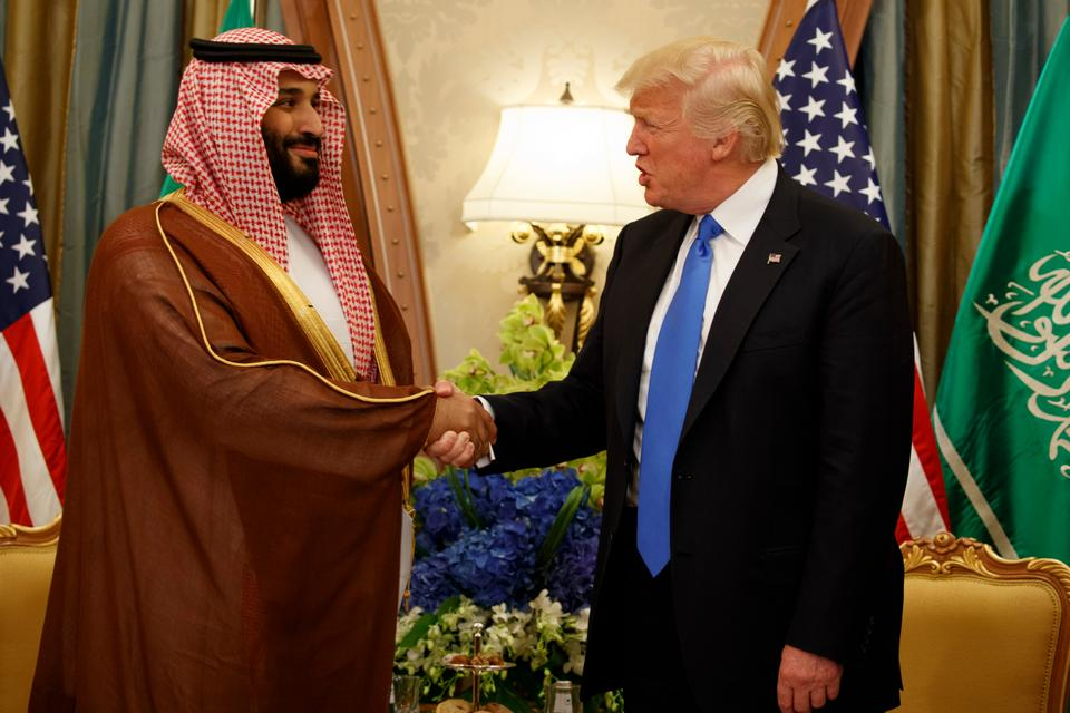 Then-deputy crown prince Muhammad bin Salman shakes hands with US president Donald Trump during his visit to the kingdom in May. A month after Trump's visit, Muhammad bin Salman was named crown prince.