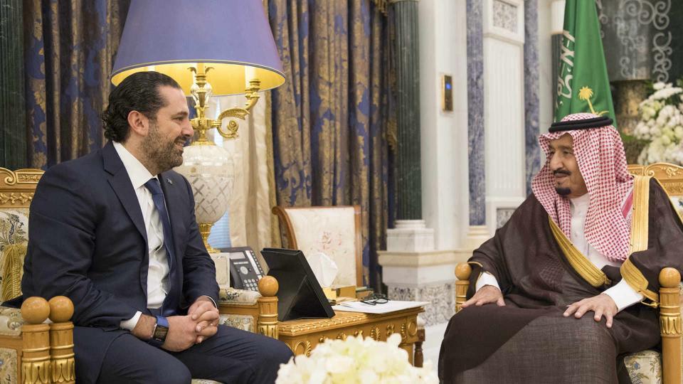 Saudi Arabia's King Salman bin Abdulaziz al Saud meets with former Lebanese Prime Minister Saad Hariri in Riyadh, Saudi Arabia November 6, 2017. Hariri's surprise resignation in a televised speech aired on Al Arabiya TV had drawn criticism and was met with controversy in Beirut. Some have questioned whether Hariri's resignation was voluntary.